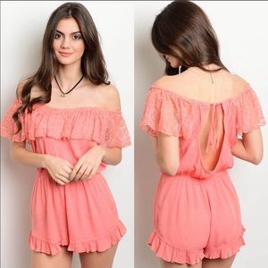 Dresses & Skirts - 🎀Girly Coral Lace Romper🎀